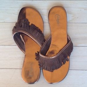 Candie's leather fringe sandals. Size 9--10. NWOT